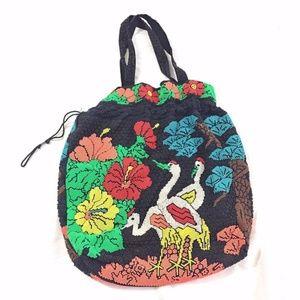 Black Beaded Bag w/ Multicolor Bird & Flower Print