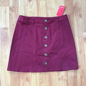 Red Wine Button up Skirt