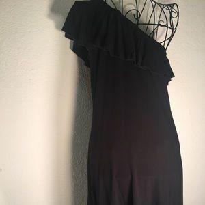Premise Black One Shoulder Knee Length Dress