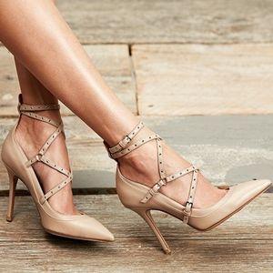 NIB Valentino Love Latch Ankle Strap Nude Heels