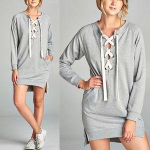 KATY Sweater Dress/Tunic Top - H. Grey