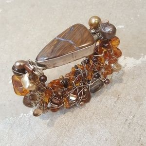 Jewelry - Genuine Amber Wire Wrap Bracelet