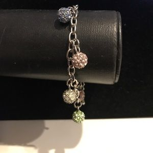 Jewelry - Colorful crystal charm bracelet in silver