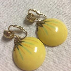 Vintage Yellow Ceramic Dangle Clip Earrings