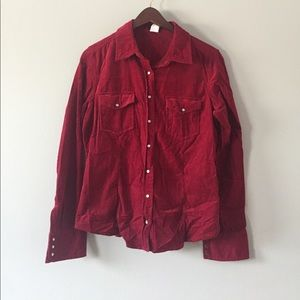 red button up j.crew corduroy shirt size M