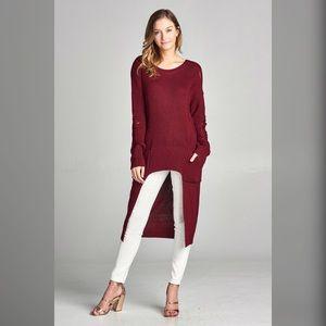LAST 2 Burgundy long line distressed sweater!