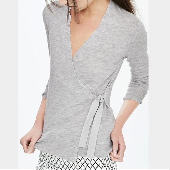 54d29f76c2 Banana Republic Sweaters - Banana Republic Gray Merino Wool Wrap Sweater