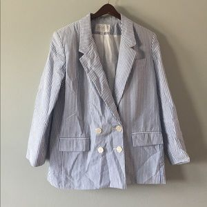 lord & taylor striped blazer size 12