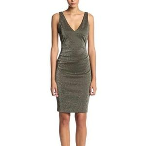 Nicole Miller Lurex Ponte Gold Dress, Large