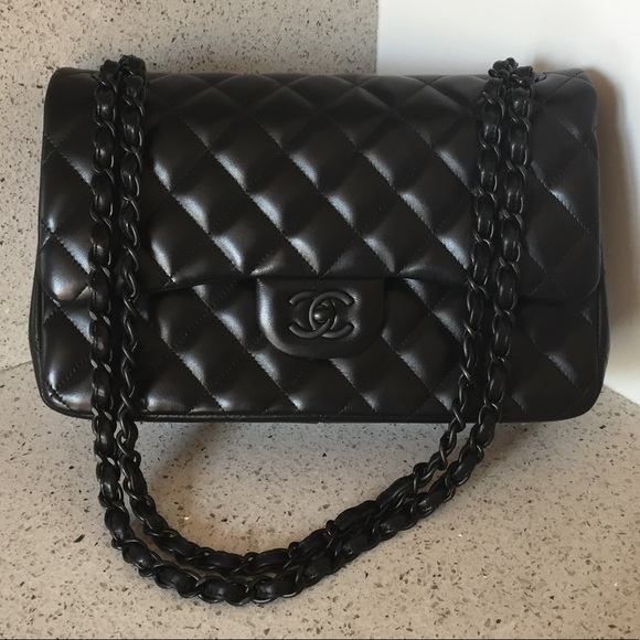 f627996401 rare Chanel so black jumbo lambskin