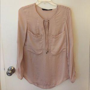 Zara rose long sleeve blouse