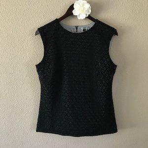 Ann Taylor Crochet Lace Overlay Shell, Medium
