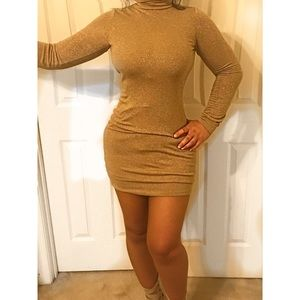 Sexy Gold Low Backless Dress