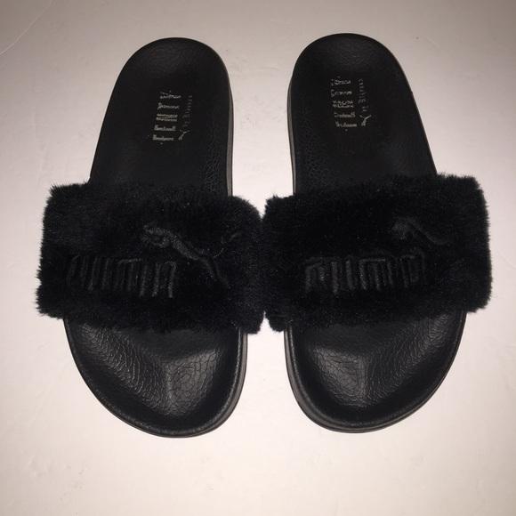 17047f97f23f Puma Fenty Rihanna Black Leadcay Fur Slide Sandal