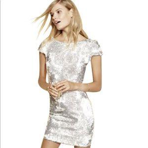 Dress the Population Tabitha Dress Silver Sequin