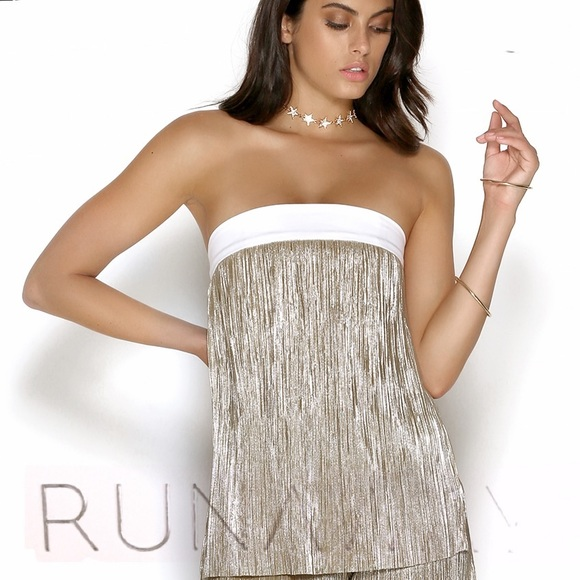 8cc5b284f45910 NWT Runaway The Label Gold Strapless Bounce Top M