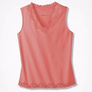 Coldwater Creek Double Lace Tank Coral Rose 2X