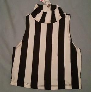 Crop top black / white stripes