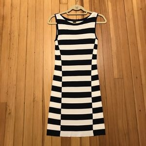 NWOT Theory fitted navy and white striped dress P