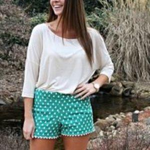Judith March Green Polka Dot Shorts