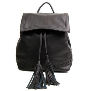 Handbags - Chic Black Tassel Backpack