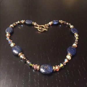 Jewelry - Necklace with Lapis gemstones & Swarovski crystals