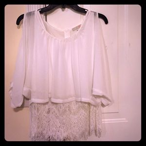 GIANNI BINI white lace sheer cold shoulder top