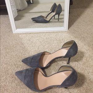 J. Crew grey suede heels