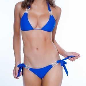 Brand new Chi Swimwear blue Crystals Bikini set