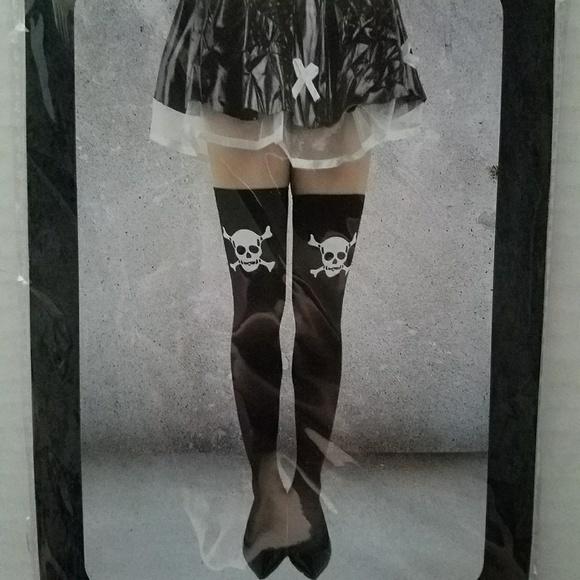91219e1106b New Black White Crossbones Skull Thigh High Socks. Boutique. Hot Topic