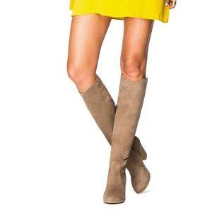 Stone Knee High Heeled Boots