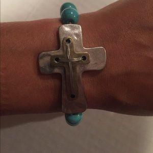 Handmade Turquoise Cross Bracelet