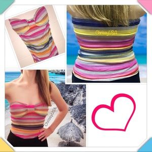 Tops - ☀️🌴NWOTS! Cute tube top with colorful stripes☀️🌴