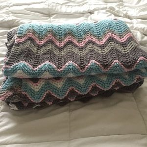 Other - Handmade chevron Knit baby blanket