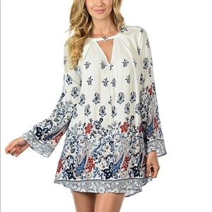 Dresses & Skirts - Ivory & Navy Paisley Long-Sleeve Dress
