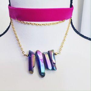 Deathbed Jewels Jewelry - 💎NEW 💎 Rainbow Quartz Gold Rose Velvet Choker