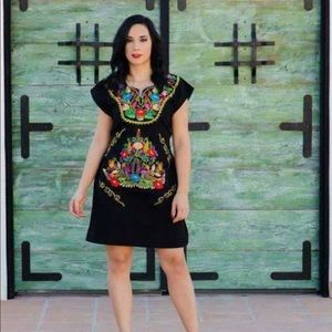 New Mexican Dress Traditional Floral Embroidery