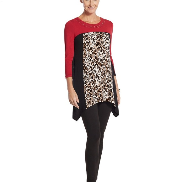 90e2a53fae093c Chico s Tops - Chico s Zenergy Animal Print Color Block Tunic