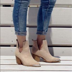 Shoes - 2 left!!! FREE Suede Block Heel Ankle Bootie