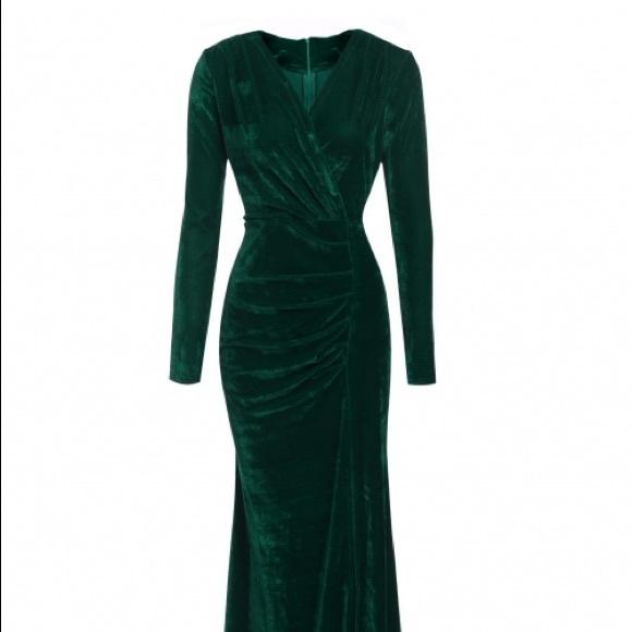 3e77a6f6fc1 Dresses   Skirts - Long dark emerald green velvet dress