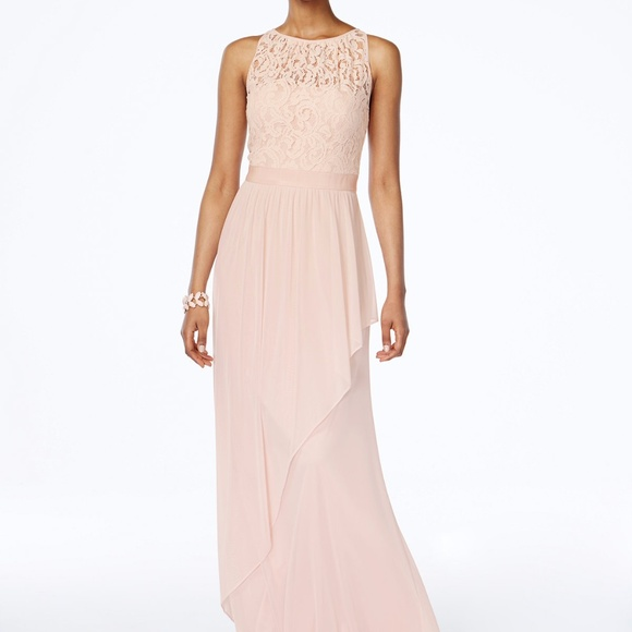 2e0dc4aeb78 Adrianna Papell Lace Illusion Halter Gown Blush