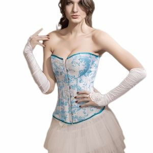 Tops - Gorgeous Blue and White Floral Corset