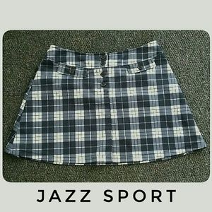 Jazz Sport Black White Plaid Mini-Skirt Size Med