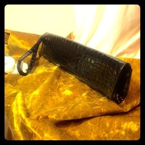 Vintage Extra Long Faux Croc Black Wrist Clutch