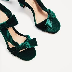 279cc0164a4 Zara Shoes - Zara green velvet lace up high heel sandals