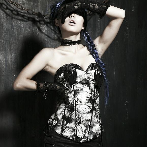 Punk Rave Other - Elegant Black Grey Floral Corset Bustier Gothic
