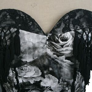 Punk Rave Intimates & Sleepwear - Elegant Black Grey Floral Corset Bustier Gothic