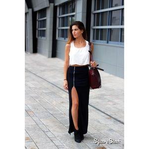 High waisted Maxi Zipper Skirt