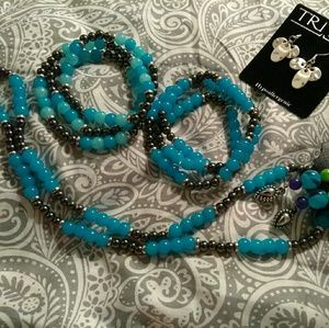 Jewelry - A necklace and earrings with to Affinity bracelets