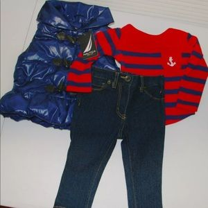 Nautica Girls 3 piece outfit 12M NEW jeans puffer